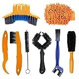 BEYAOBN 8 Piezas Kit Limpieza Bicicleta,kit de cepillo de limpieza de cadena de bicicleta, juego de herramientas para limpiar cadenas,Profesional Limpieza para Cadenas y Llantas