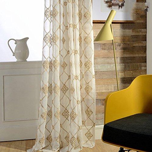 Tine Home Rideaux et Rideaux Sheer Rideaux Blanc Fil brodée pour fenêtre traitements Produit Fini Salon œillets en Haut Un Panneau, Blanc, 1pc(150 * 270 cm)