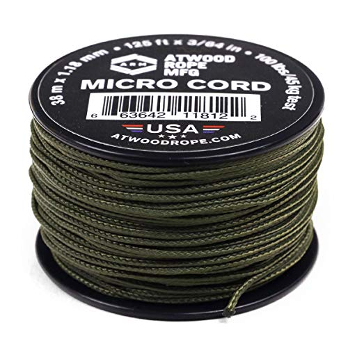 Atwood Rope MFG Tactical Nylon/Polyester Micro Utility Cord 1.18mm X 125ft Reusable Spool | Fishing Gear, Jewlery Making, Camping Accessories (OD)