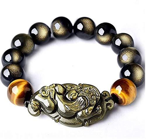 FLYAND Feng Shui Pulsera Natural Doble Ojo Oro Obsidian Tiger Tiger Piedra con Cuentas Pixiu/PIYAO Accesorios Elasticidad Ajustable para atraer Dinero de Peach para Hombres/Mujeres, 12mm
