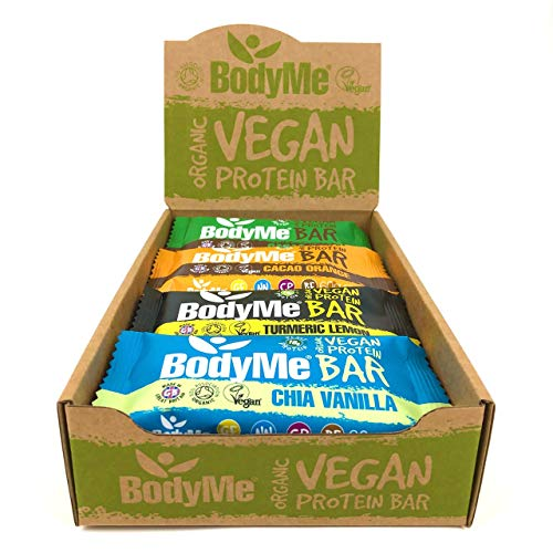 BodyMe Organic Vegan Protein Bar | Mixed Box | 12 x 60g Vegan Protein Snack Bars | Gluten Free | 16g Complete Protein | 3 Plant Proteins | All Essential Amino Acids | High Protein Vegan Snacks