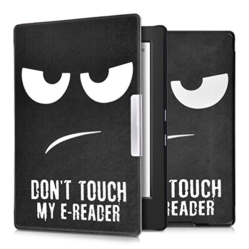 kwmobile Hülle kompatibel mit Kobo Aura H2O Edition 1 - Kunstleder eReader Schutzhülle Cover Case - Don't Touch My E-Reader Weiß Schwarz