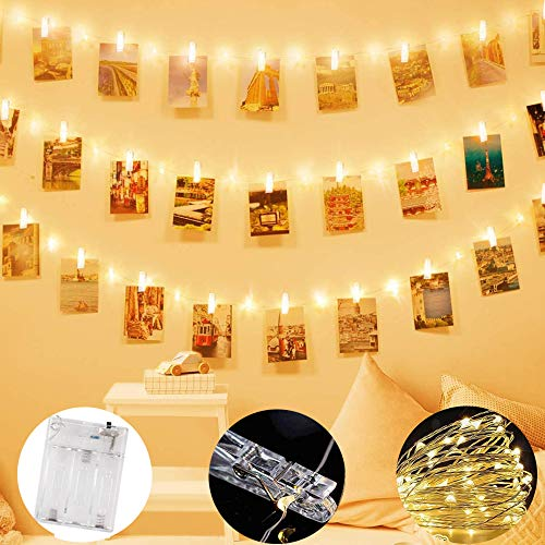 Satohom Photo Clip String Lights 10M 50 Clips 100 LED Photo Peg Fairy Lights Hanging Photo Picture Artwork Card Battery Powered Copper Wire Lights for Party Wedding Bedroom Indoor Home Wall Decoration