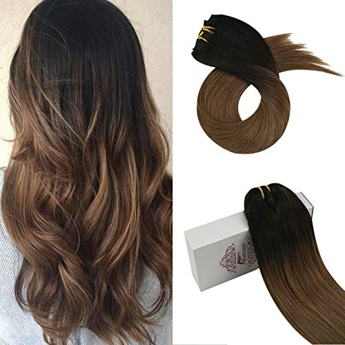 Moresoo 24 pulgadas Extensiones de Clip Pelo Natural Pelo Humano Liso Ombre Color #1B Fuera Negro a #10 Oro Marrón Remy Hair Extension 7PCS 100G Full Head Set