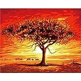 FVNR DIY pintura por números para adultos DIY Lienzo Set de arte de pared para regalo bajo el atardecer árbol, capacidad de mano de 16 x 20 pulgadas sin marco