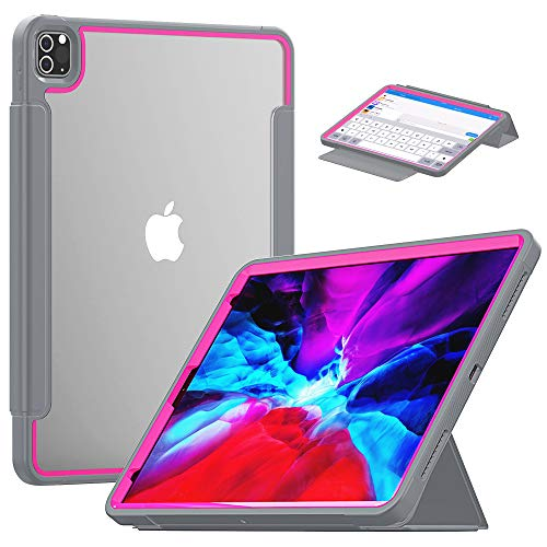 TianTa iPad Air 4th Generation Case 2020, iPad 10.9 Inch Case 2020, Slim Leather Full Body Hard Back Shell Smart Cover with Built-in Screen Protector & Pencil Holder for iPad 10.9', Gray/Rose