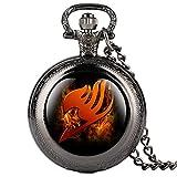 dzx orologio da tasca nero di moda per bambini orologi da tasca modello fairy tail dei cartoni animati per ragazza orologio da tasca regalo creativo con catena per adolescente