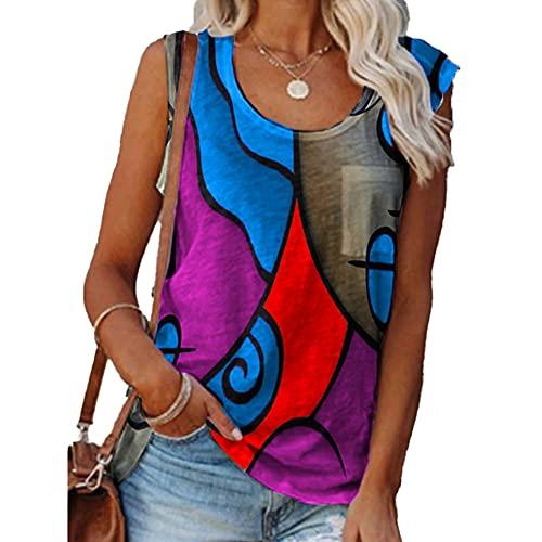 Mayntop Camiseta sin mangas para mujer, camiseta de verano, estampado de bloques de color, estampado geométrico, camiseta suelta, talla grande, sin mangas, blusa étnica, blusa de Cami Tops, A-azul, 44