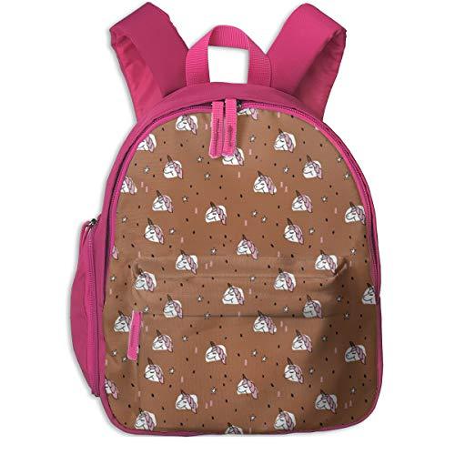 Kinderrucksack mädchen,Einhorn funkelt und Sterne Winter Schnee Design Mädchen Weihnachten Kupfer Pink_4565 - Littlesmilemakers, für Kinderschulen Oxford Tuch (pink)