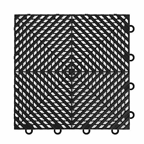"IncStores ⅜ Inch Thick Nitro Interlocking Garage Floor Tiles | Plastic Floor Tiles for a Stronger and Safer Garage, Workshop, Shed, or Trailer | 12""x12"" Tiles, Vented, Black, Pack of 52"
