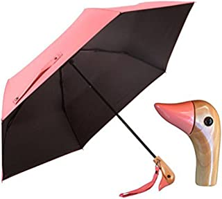 Duck Head Wood Handle Umbrella,UV 50+ Shade Rain Shine Folding Travel Umbrella