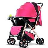Znesd Bébé Tout-petit bébé nouveau-né de Prestige poussette 2 en 1, une poussette portable convertible poussette réversible, deux - moyen choc - la preuve (Color : Pink)
