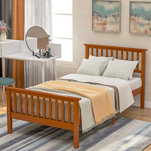 "Harper&Bright Designs Wood Platform Bed, 80.3""L X 42.5""W X 29.5""H, Oak"