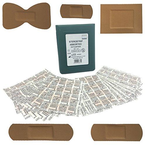 Steroplast Hochwertige sterile hypoallergene Pflaster, wasserfest, Erste-Hilfe-Set, 100verschiedene Pflaster ohne Kunststoffhülle