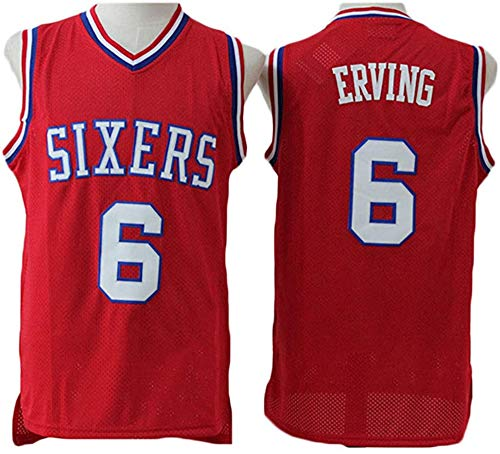 BXWA-Sports NBA Basketball Jersey 76ers # 6 Erving Retro sin Mangas Cómoda Malla Bordada Tela Fresca Transpirable Unisex Basketball Jerseys,Rojo,M