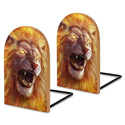 Serre-livres Roaring Animal Roi Lion pour étagères, en bois de sapelli pour bureau, serre-livres antidérapants pour livres, films, DVD, livres 13 x 8,1 x 4,1 cm