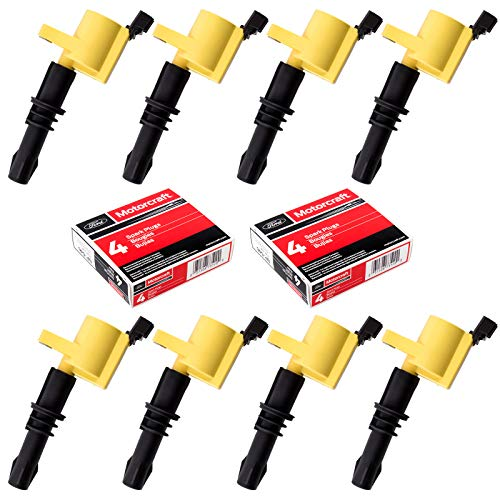 MAS 8pc Ignition Coils and Motorcraft SP515 SP546 Spark Plugs compatible with Ford Lincoln Mercury...