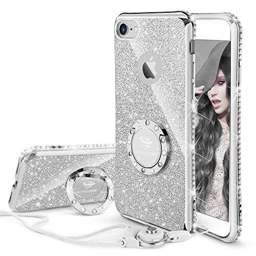 OCYCLONE Funda para iPhone 6 Plus,Ultra Slim Soft TPU Purpurina Fundas Movil con Diamantes Glitter Anillo Protectora Apple iPhone 6 Plus,iPhone 6S Plus para Mujer - Plata