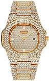 Unisex Luxury Full Diamond Watches Silver/Gold Fashion Quartz Analog Stainless Steel Band Bracelet Wrist Watch (Rose Gold)
