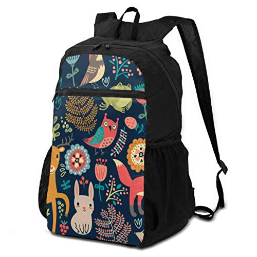 JOCHUAN Packable Backpack Men Animals Forest Owl Deer Hedgehog Fox Foldable Daypack for Travel Hiking Daypack for Women Lightweight Waterproof for Men & Womentravel Camping Outdoor