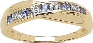 La Colección Anillo Diamante: Anillo Oro 9ct de Tanzanita y set Diamantes, Anillo de eternidad, Perfecto para Regalo, Aniversario o Compromiso Talla 6,8,9,10,11,12,13,15,16,17,19,20,21,22,24