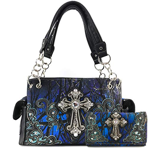 Justin West Camouflage Tree Branches Bling Rhinestone Cross Wings Buckle Crossbody Chain Messenger and Purse (Blue Cross Handbag Wallet Set)