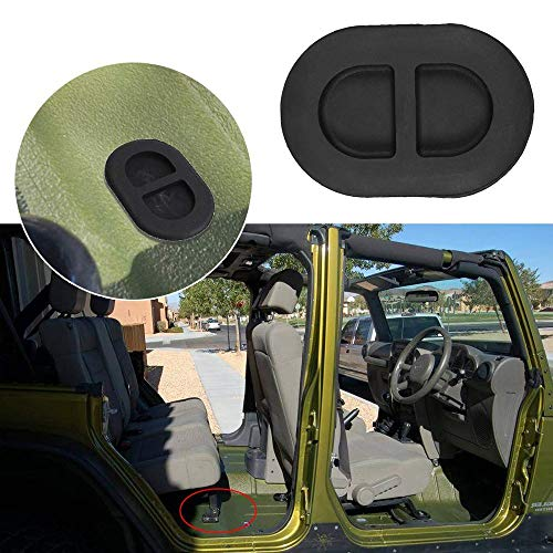 IJeilo 4 Stks Black Floor Pan Drain Interface Achterste Floor Pan Body Interface Kleine Rubber Interface Fit voor Jeep Wrangler JK JL Auto benodigdheden