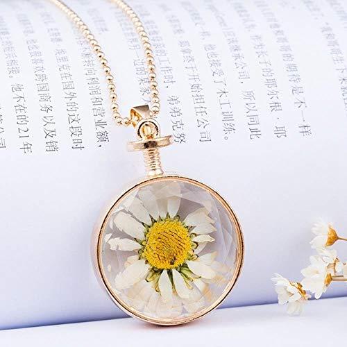 LHXMY Handgemachte Runde Harz Transparente Blume Halskette Pflanze Getrocknete Blume Sonnenblume Anhänger Halskette, Wt
