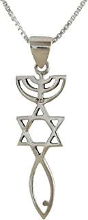 AJDesign Sterling Silver Messianic Seal Pendant Spiritual Religious Jewelry Grafted Necklace Pendant with Chain