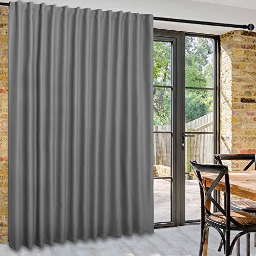 DWCN Patio Sliding Door Curtains - Extra Wide Curtains for Glass Door, Room Divider Blackout Thermal Curtain Panel with Back Tab & Rod Pocket for Bedroom Partition, 100 x 96 Inches, Light Grey