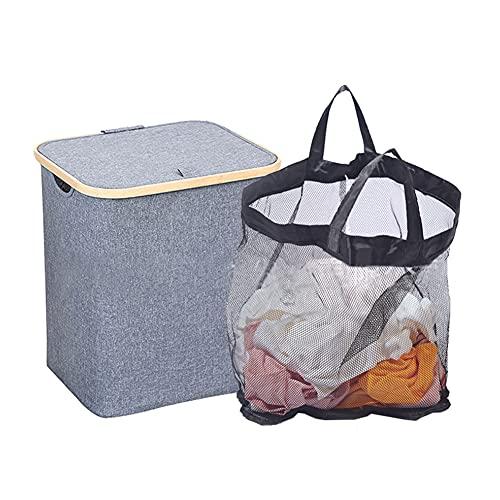 Cesta de lavandería de bambú,Cesta para la Ropa Sucia Plegable,Cesta de lavandería,Cesta de Almacenamiento,con Bolsa de Forro Extraíble,para almacenamiento de juguetes,oficina,armario