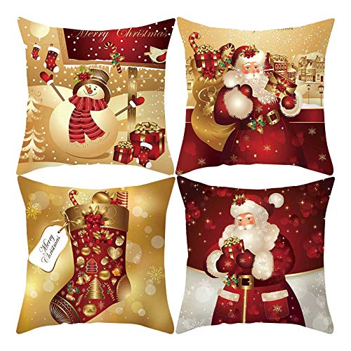 Christmas Pillow Covers Set of 4, 18 x 18 Inch Winter Holiday Rustic Farmhouse Cushion Case Christmas Throw Pillow Cover, for Sofa Couch Decorative