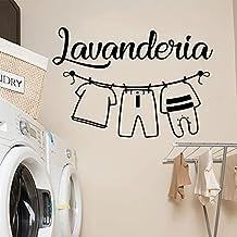 Italiaanse woorden Lavanderia Muursticker Muurstickers Wasruimte Decoratie Waterdicht Verwijderbaar Behang A9 57x28cm