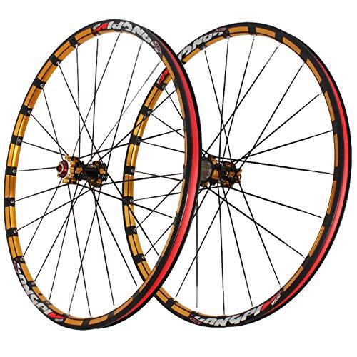 NS 26'' 27.5'' Ruedas Ciclismo Juego Ruedas De Bicicleta por Montaña Freno Disco Liberación Rápida Llanta Aleación Doble Pared por Volante Casete 8/9/10s (Color : Gold hub Gold Logo, Size : 26inch)