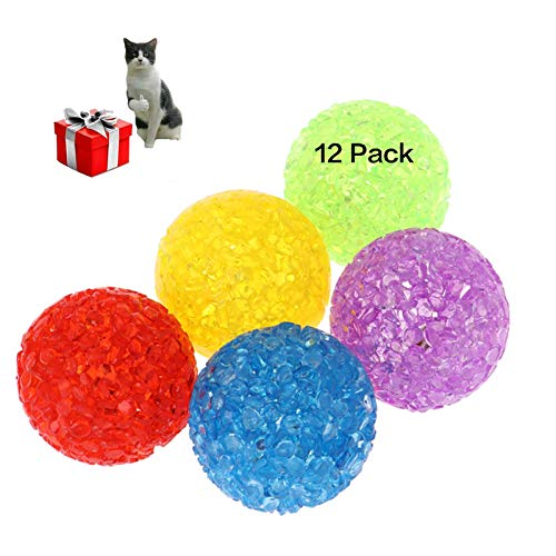 UHKZ Cat Toys Balls with Bells,The Best Cat Toys of Keeps Busy for Cat. Safe and Lightweight Give Your Cat Enjoy a Happy Hour,Pack of 12