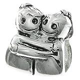 Abalorio de plata de ley 925 con texto en inglés 'Happy Twins Girl Sister Hug', compatible con pulseras de abalorios europeas