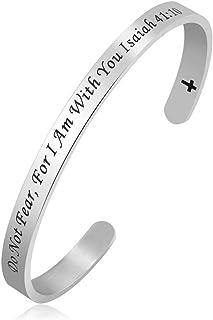 Sexymandala Christ Cross Holy Bible Cuff Bangle Bracelet Women Men Children Gifts Isaiah 41:10