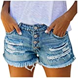 UOFOCO Women's Mid Rise Frayed Raw Hem Distressed Ripped Destroyed Denim Shorts Jeans (XX-Large,Blue)