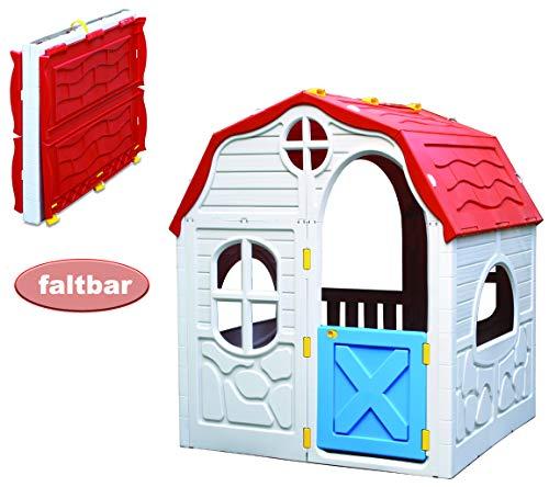 Kreher XL Faltbares Kinderspielhaus, Spielhaus, Gartenhaus aus robustem Kunststoff. Maße: 98 x 91 x 115 cm (BxTxH) Einfache Montage durch faltbares System, top!
