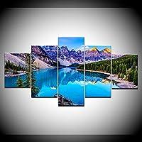 キャンバス塗装 ぶら下げ画 モレーン湖5パネル/ピースHDプリント風景現代ウォールポスターキャンバスアートは、家庭のリビングルームの装飾のために絵 (Color : No Frame, Size (Inch) : 30x40 30x60 30x80cm)
