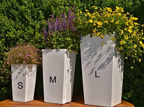 MELTOM Blumenkübel Set 3 Größen S+M+L Weiß Hochglanz Eckig Pflanzkübel Blumentopf Top