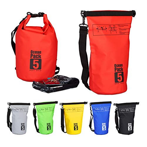Relaxdays Ocean Pack, 5L, wasserdicht, Packsack, leichter Dry Bag, Trockentasche, Segeln, Ski, Snowboarden, rot