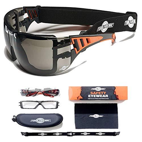 ToolFreak-Rip Out Sicherheitsbrille in sportlichem Style mit Schaumstoffpolsterung, Dunkle Linse