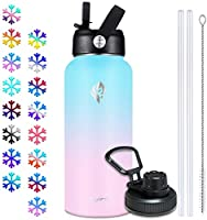 Elvira 32oz Vacuum Insulated Stainless Steel Water Bottle with Straw & Spout Lids, Double Wall Sweat-proof BPA Free to...