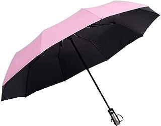 Travel Folding Golf Umbrella,Teflon Umbrella Automatic Switch 12 Bone high Strength Fiberglass not Easy to Break Strong Wind, Strong Waterproof, Sunny and Rainy Dual Purpose Folding Umbrella. (Pink)