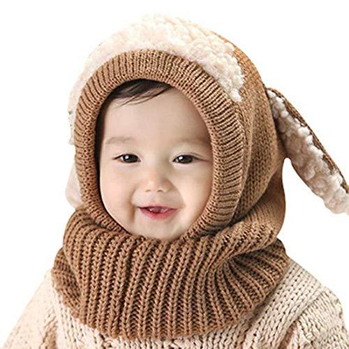 Vertvie Unisex Baby Kinder Mädchen Jungen Hut im Winter warme Kopfbedeckung Schal Mütze Strickschals Kapuzen Cowl Beanie Caps (One Size, Kaffee)