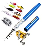Telescopic Pocket Pen Fishing Rod Pole,100 Meters Nylon Monofilament Fishing Line,10 Pack /5 cm Hard...