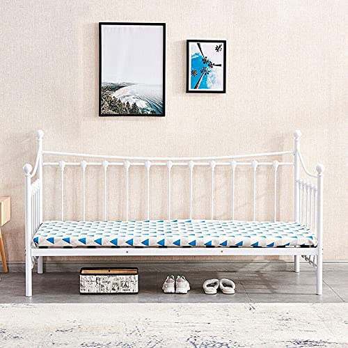 White 3FT Single Day Bed Trundle Optional Twin Size Metal Bed Frame Guest Room (Color : Single Bed Frame Only)