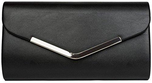 styleBREAKER Clutch Abendtasche im Envelope Kuvert Design mit Zierleiste aus Metall und Abnehmbarer Kette zum umhängen, Damen 02012131, Farbe:Schwarz