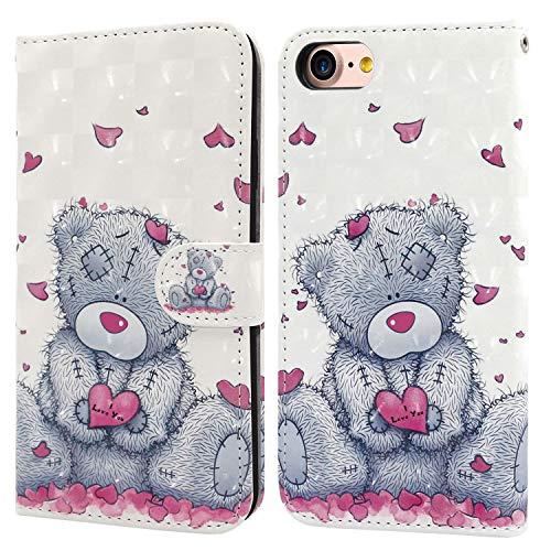 Ailisi Cover iPhone 7/8, 3D Flip Cover Cartoon cute love heart Teddy Bear Custodia Protettiva Caso Libro Pelle PU con Portafoglio, Funzione Supporto, Chiusura Magnetica